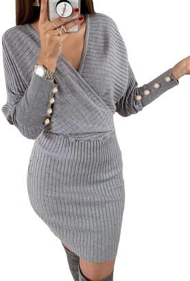 AlvaQ Womens Winter Knitted Wrap V Neck Sweater Dresses Bodycon Tie Waist Short Dresses Jumper Dress Gray