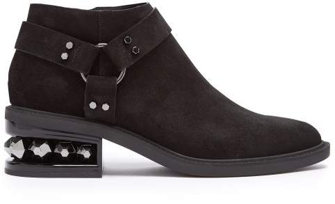 Nicholas Kirkwood Suzi Crystal Heeled Suede Ankle Boots - Womens - Black