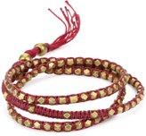 "M.Cohen Handmade Designs M. Cohen Handmade Designs Tiny Brass Beads on Raspberry Linen Triple Wrap Bracelet, 21.5"""