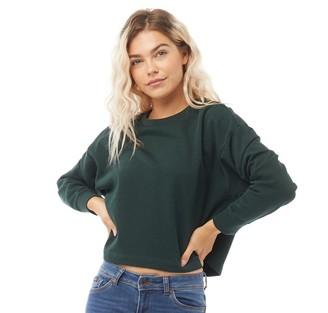 Jacqueline De Yong Womens Freya Long Sleeve Cropped Sweatshirt Scarab Melange