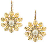 Carolee Gold-Tone Pavé & Imitation Pearl Flower Drop Earrings