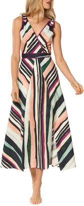 Red Carter Kinsley Striped Sleeveless A-Line Midi Dress