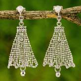 Sterling Silver Chandelier Earrings Skirt Pattern Thailand, 'Silver Skirts'