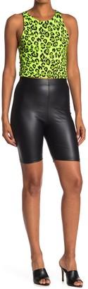 GOOD LUCK GEM Faux Leather High Waist Biker Shorts