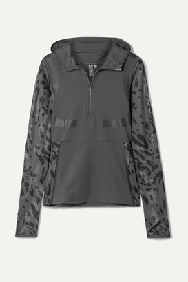 adidas by Stella McCartney Parley For The Oceans Run Hooded Printed Climalite Top - Dark gray