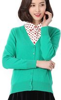 Pandy Women's Wool Cashmere Classic Cardigan V-Neck L