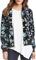 Karen Kane Floral Embroidered Velvet Bomber Jacket