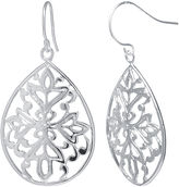 JCPenney SILVER REFLECTIONS Silver-Plated Floral Filigree Pear-Shaped Drop Earrings