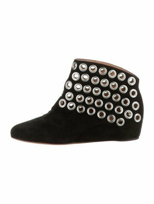 Alaia Suede Ankle Booties Black