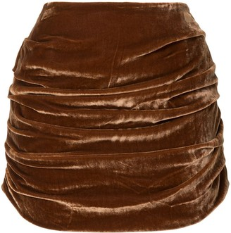 Georgia Alice Draped Velvet Mini Skirt