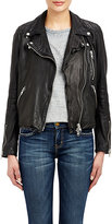 Barneys New York Women's Lambskin Moto Jacket-Black