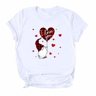 Jiegorge Women's Blouse Womens Valentine's Day Catoon Print Cute Causal Short Sleeve Tops Blouse T-Shirt