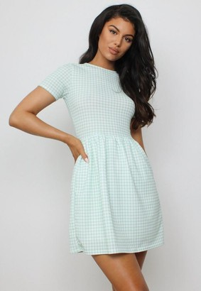 Missguided Sage Gingham Smock Skater Dress