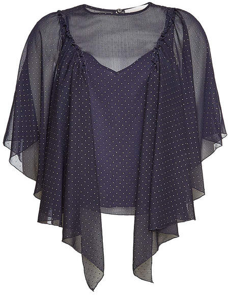 See by Chloe Dot Print Draped Sleeve Blouse