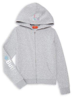 Butter Shoes Girl's Heathered Zip-Front Cotton-Blend Hoodie