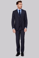 Moss Bros Tailored Fit Navy Check Jacket