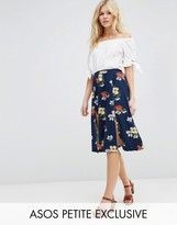 Asos Exclusive Midi Skirt with Splices in Navy Floral Print