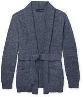 Lardini - Mélange Waffle-Knit Cotton-Blend Cardigan