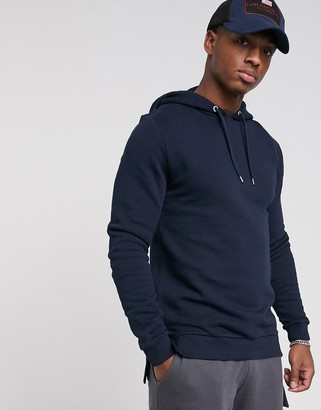 Asos Design DESIGN hoodie with split and dropped hem in navy
