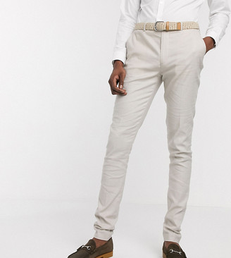Asos DESIGN Tall wedding super skinny suit pants in stretch cotton linen in stone