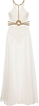 PatBO Hand-Beaded Cut-Out Dress