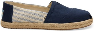 Toms Navy Canvas Striped Womens Espadrilles