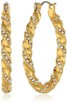 Giles & Brother Giles and Brother Twisted Gold-Tone with Clear-Crystal Hoop Earrings
