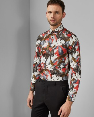 Ted Baker Floral Cotton Leopard Shirt