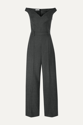 Prada Off-the-shoulder Checked Wool-blend Jumpsuit - Dark gray