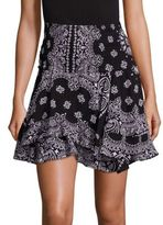 A.L.C. Vera Bandana Silk Flounce Skirt