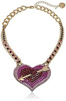 "Betsey Johnson Hearts and Arrows"" Large Pave Necklace, 16"" + 3.5"" Extender"