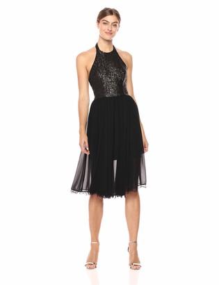 Dress the Population Women's Tatiana Sequin Halter Fit & Flare Midi Dress