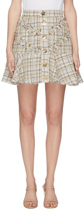 C/Meo 'For Your Love' button tweed mini skirt