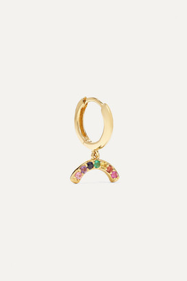 Andrea Fohrman Rainbow 18-karat Gold Sapphire Hoop Earring