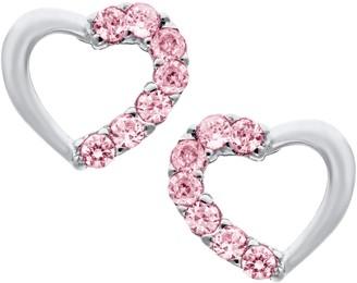 Mignonette Open Heart Sterling Silver & Cubic Zirconia Earrings