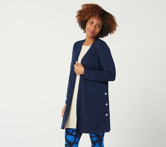 Every Day by Susan Graver Liquid Knit Duster with Snap Detail