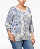 Style&Co. Style & Co Plus Size Printed Crochet-Trim Top, Only at Macy's