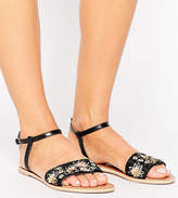 Asos FIZZY Wide Fit Leather Embellished Flat Sandals