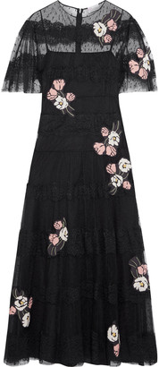 RED Valentino Floral-appliqued Paneled Chantilly Lace And Point D'esprit Midi Dress