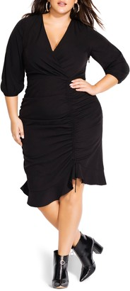 City Chic Side Ruched Surplice Dress
