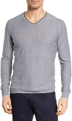 Bugatchi Microstripe V-Neck Sweater
