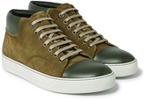 Lanvin - Two-tone Suede And Leather Sneakers