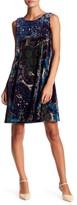 Robbie Bee Printed Velvet Sleeveless Dress