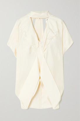 Victoria Victoria Beckham Tie-neck Cutout Silk-satin Blouse - Ecru