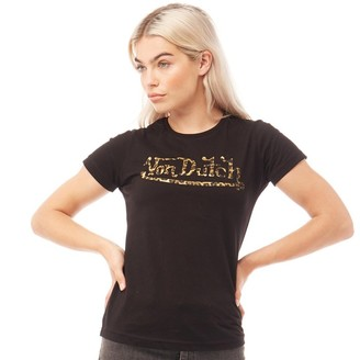 Von Dutch Womens V-aspen T-Shirt Black/Leopard