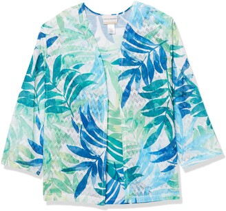 Alfred Dunner Women's Petite Watercolor Leaf Printed Two for ONE TOP