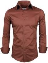 Tom's Ware Mens Casual Slim Fit Button Down Shirt TWFD001-1-CS05-WINE-US XXL