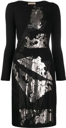Bottega Veneta Pre-Owned Mirror Effect Long-Sleeved Dress