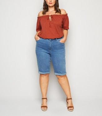 New Look Curves Bright 'Lift & Shape' Denim Knee Shorts