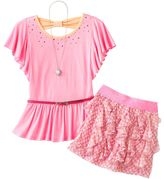 Knitworks neon rhinestud top & dot scooter set - girls plus